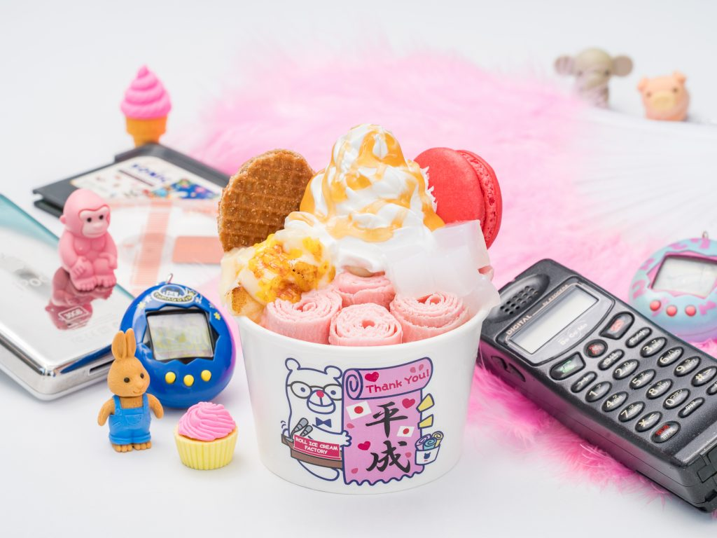 平成の30年間にブームになったスイーツたっぷり♡期間限定「ありがとう平成」ロールアイスを販売開始